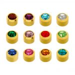 caflon regular bezel gold piercing stud assortment 12 pair pack